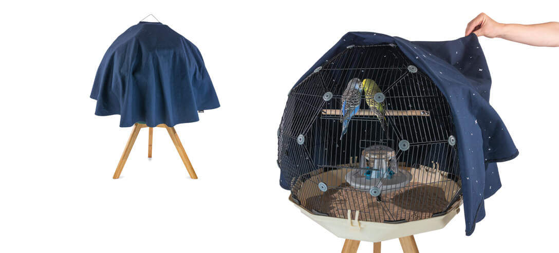 The Constellation Geo Bird Cage Cover is decorated on the inside with a map of the stars so your budgies can enjoy the wonder of the night sky from the tranquility of their perch
