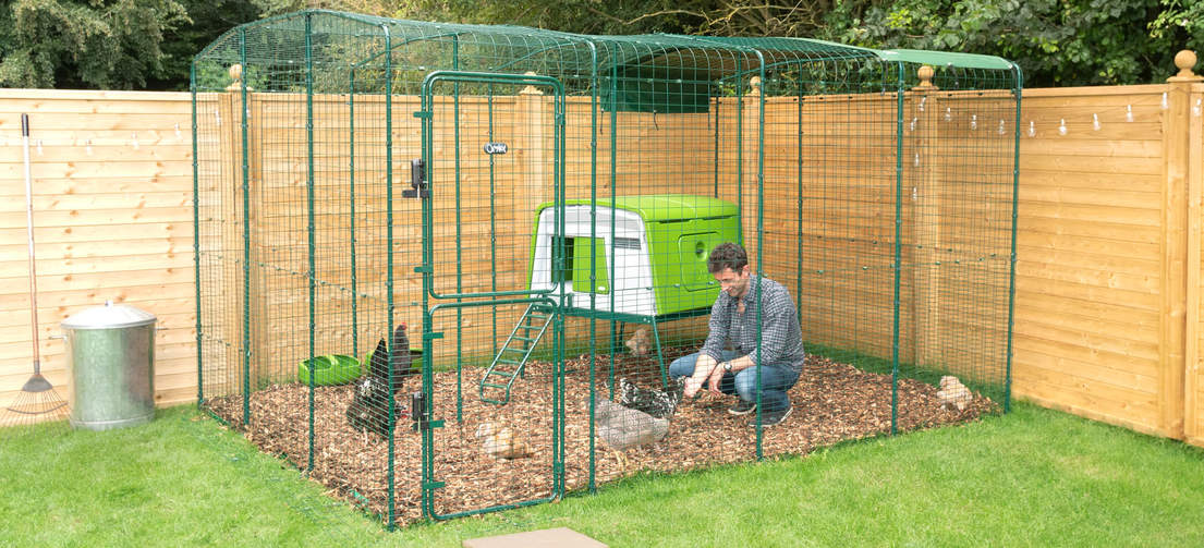 Extend the run on your Eglu Cube or place the chicken coop inside a Walk in Chicken Run.