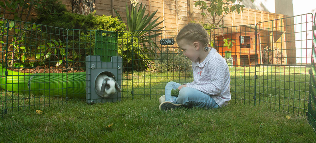 Children love watching their rabbits run down the tunnels of the Zippi burrow pipe system