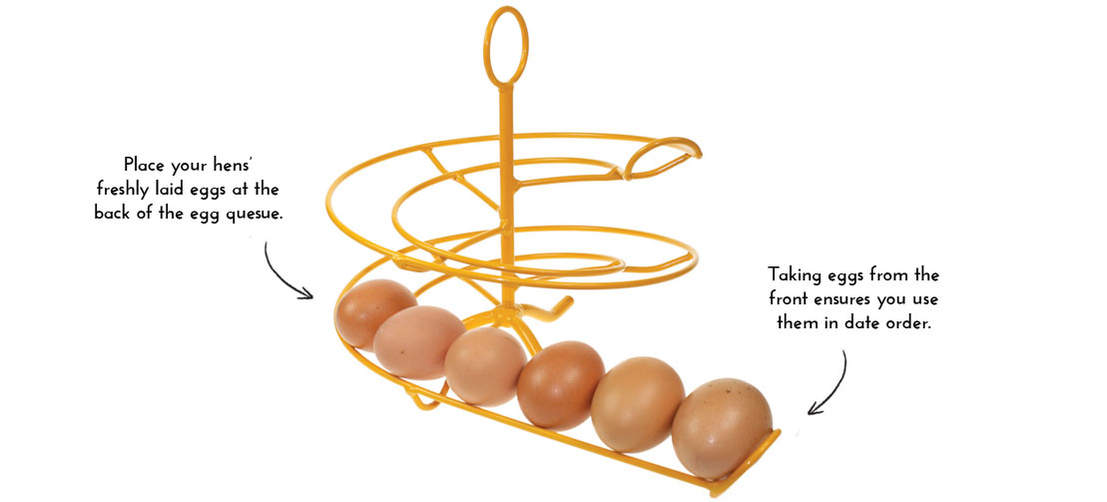 The Egg Skelter will keep your eggs in age order