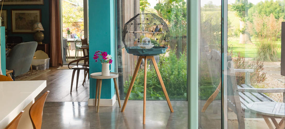 The breathtaking geodesic design of the Geo Bird Cage makes it an elegant focal point that effortlessly graces any room in your house