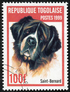 A Saint Bernard on a West African stamp 1