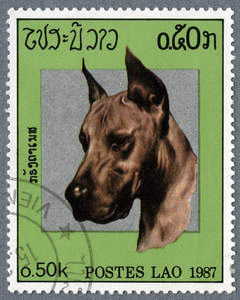 A Great Dane on a Southeast Asian stamp