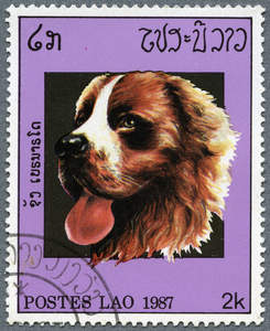 A Bernese Mountain Dog on a Southeast Asian stamp