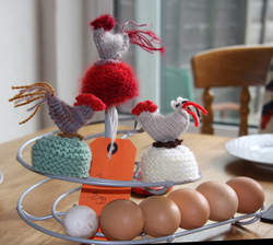 Hand-knitted chicken egg cosy party presents
