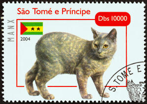 A tortie manx on a postage stamp