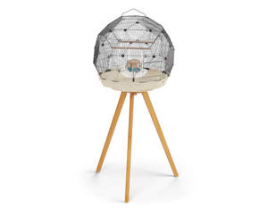 Geo Bird Cage with Full Height Stand - Cream and Black