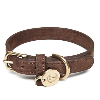 Cloud7 Leather Dog Collar Mocca - Large