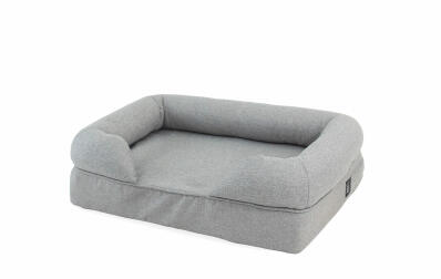 Memory Foam Bolster Cat Bed Small - Grey