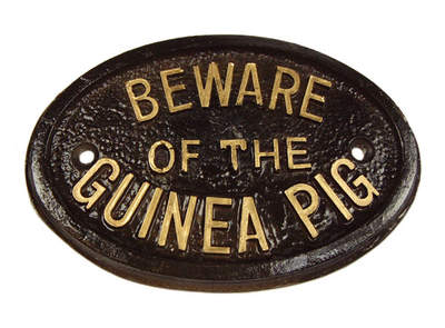 "Schildje ""Beware of the Guinea Pig'"