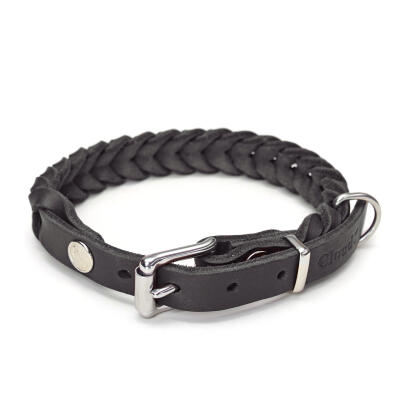 Cloud7 leren halsband Central Park - Zwart - Medium
