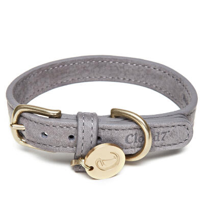 Cloud7 Leather Dog Collar Taupe - Medium