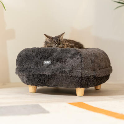Maya® Donut  Cat Bed with Round Wood feet