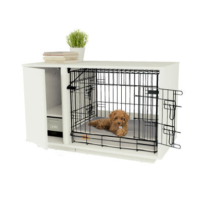 Omlet Fido Nook 24 Dog House with Crate and Wardrobe - White