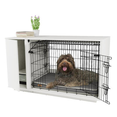 Omlet Fido Nook 36 Dog House with Crate and Wardrobe - White