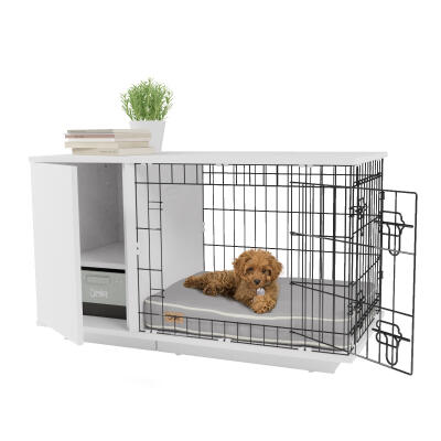 Omlet Fido Studio 24 Dog Crate with Wardrobe - White