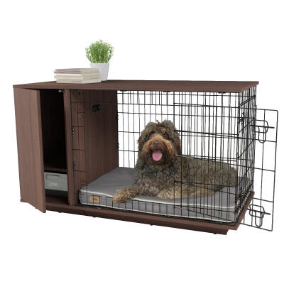 Fido Studio 36 Dog Crate with Wardrobe - Walnut
