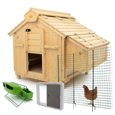 Lenham Chicken Coop with Autodoor, 21m Chicken Fencing, Feeder & Drinker Stand