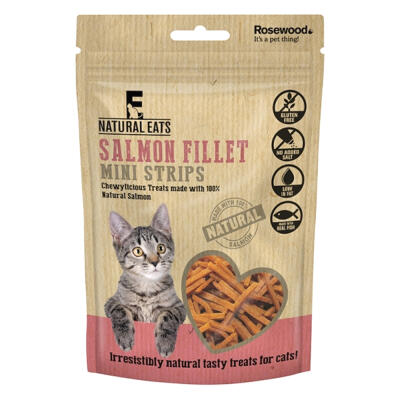 Natural Eats Cat Treats - Salmon Fillet Mini Strips 50g