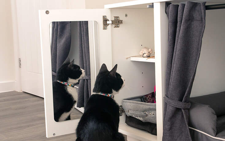 Does your cat have a habit of finding their packet of treats while you are out of the house? The Maya Nook wardrobe offers a neat (and secure!) storage solution