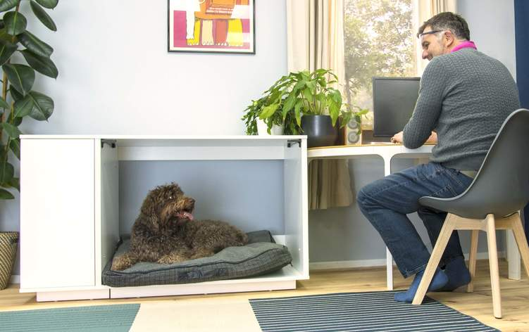 Add your favourite dog bed to the Omlet Fido Nook to create a super comfy dog house