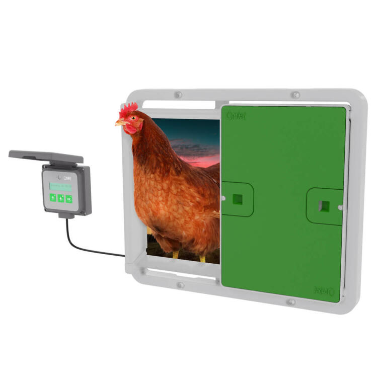 Secure your girls in their Eglu Cube, even when you're not at home, with the Omlet Automatic Chicken Coop Door.