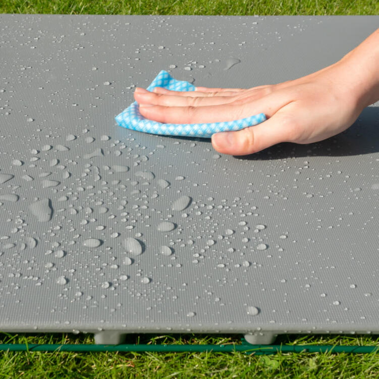 The Zippi Platforms are waterproof and easy to wipe clean, with a textured non-slip finish, for year round use.