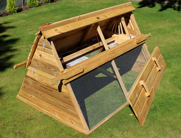The Boughton chicken coop with full length door open.