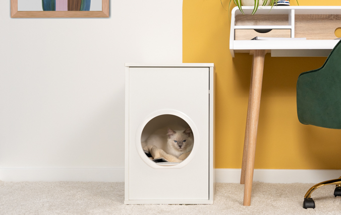 Cat sat in modern cat bed furniture in Enclosed Space which Reduces Drafts and Disturbances