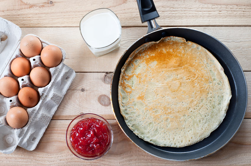 A delicious cooked pancake made with fresh free range eggs