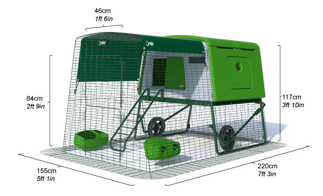 A diagram showing the dimensions of the Eglu Cube hen house with a chicken run.