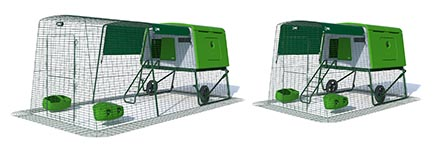 A graphic showing an Eglu Cube chicken coop with an extendable chicken run