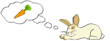 Cartoon of rabbit daydreaming about carrorts.