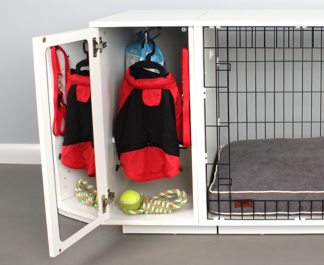 The handy closet keeps all of your dogs things tidy and accessible
