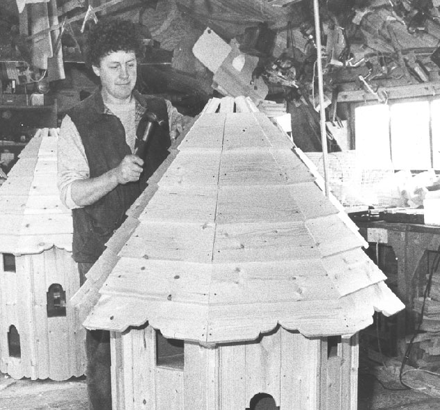 Old photo of Forsham bird house being built.