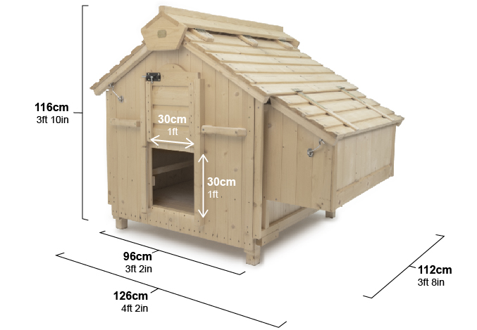 The Lenham chicken coop is suitable for up to 12 hens. See the dimensions above.