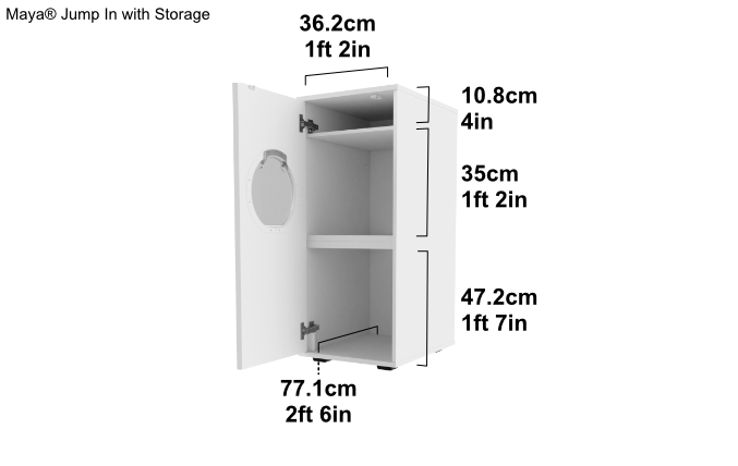 Internal dimensions of the Maya® Jump In with Storage