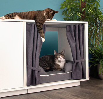 The Maya Nook curtains create an enclosed space for your cat