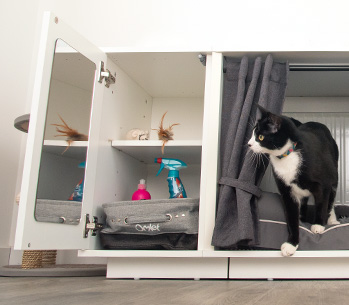The Maya Nook closet keeps your cat toys and cat treats organized