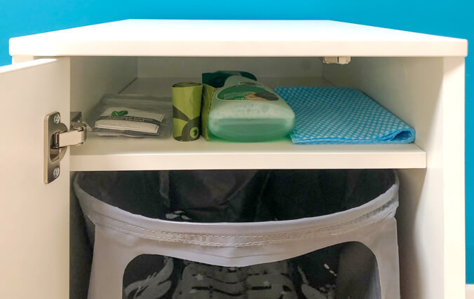 The storage shelf is a great place to store your waste bags and litter box cleaning supplies.