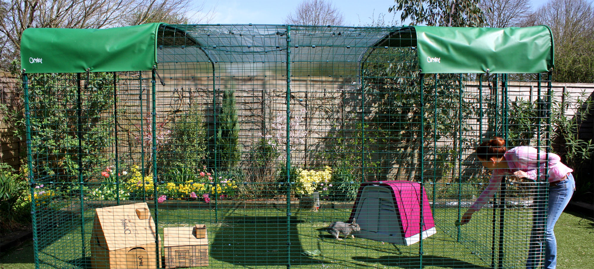 An extended 9ft x 13ft x 6ft Outdoor Rabbit Run will give your pet rabbits lots of space to hop around in.