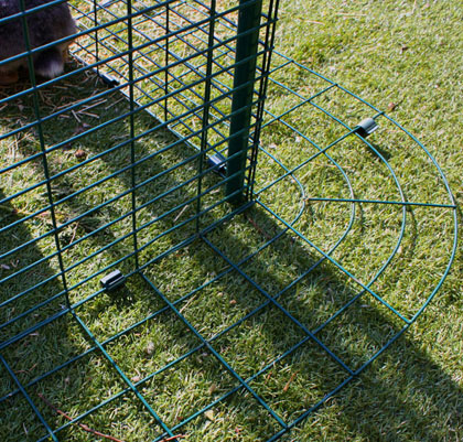 The Outdoor Rabbit Run has a detachable anti-tunnel perimeter to prevent predators from digging in.