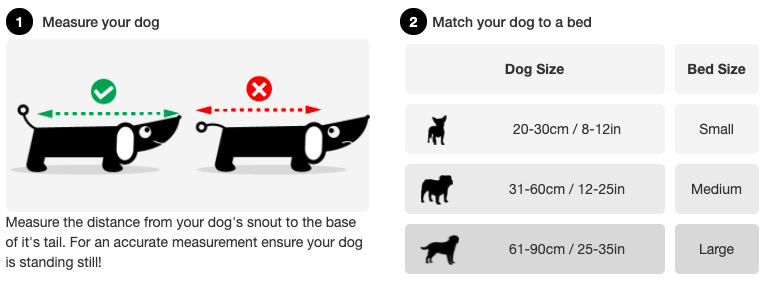 Dog bed size guide