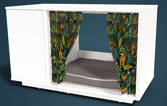 A Maya Nook cat house with customized drapes and cat bed