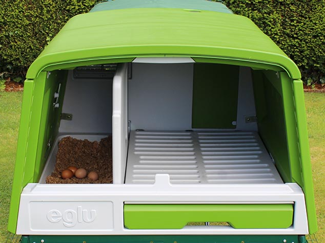 The new Eglu Cube has a spacious interior for up to 10 chickens