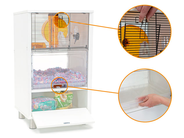 Hamsters and Gerbils are kept safe from other pets inside the Qute