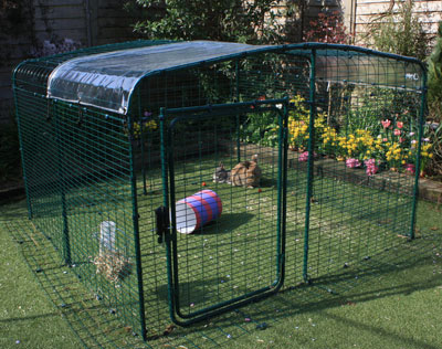 A Clear Cover for your enclosure roof will keep pet bunnies dry while letting in sunlight.