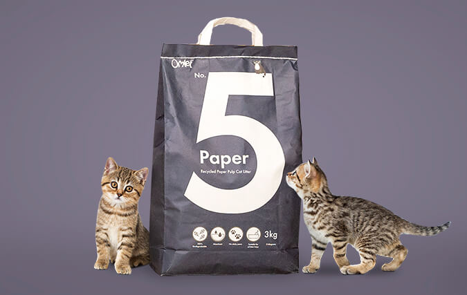 No. 5 Paper is 100% recycled and perfect for kittens and cats with allergies.
