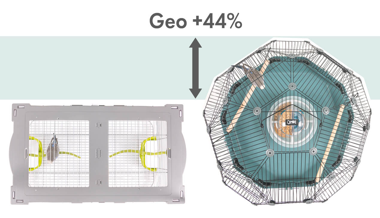 A graphic showing that the Geo Bird Cage provides 44% more space for birds than a traditional parakeet cage of comparable width