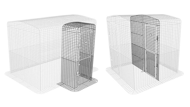 Graphic showing the Entryway and Partition for the Outdoor Guinea Pig Enclosure